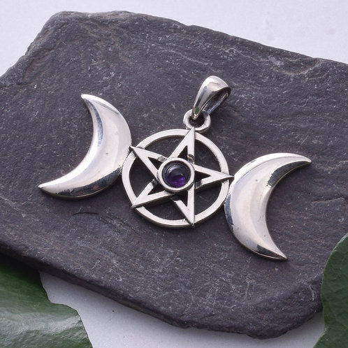 Triple Moon Pendant with Pentagram and Amethyst Cabochon - 925 Sterling Silver