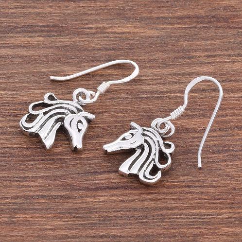 Horse Head Drop Earrings - 925 Sterling Silver