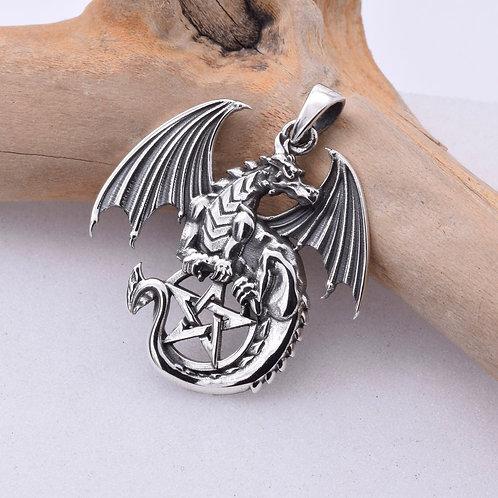 Dragon Pentagram Pendant - 925 Sterling Silver