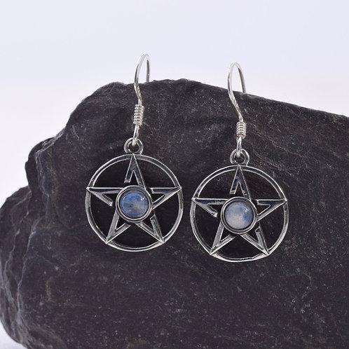 Moonstone Pentagram Drop Earrings - 925 Sterling Silver
