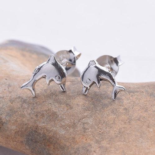 Dolphin Stud Earrings - 925 Sterling Silver