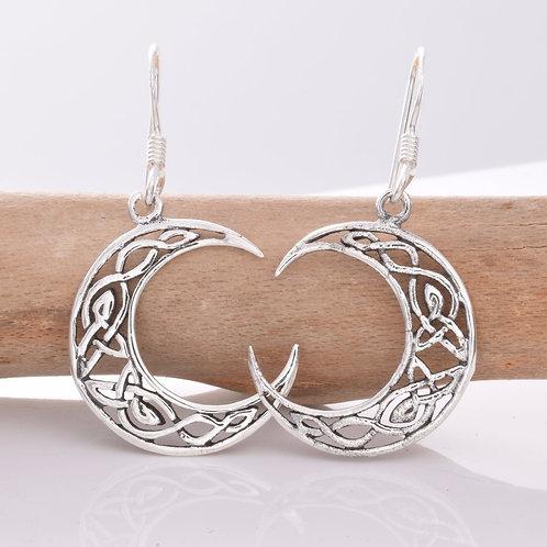 Celtic Moon Earrings - 925 Sterling Silver