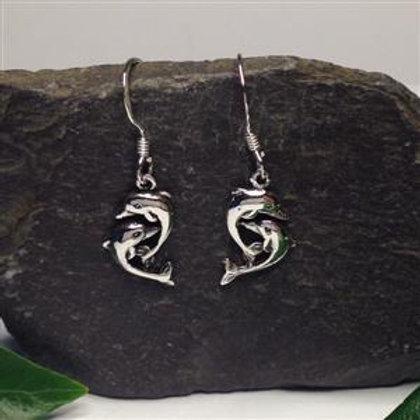 Double Dolphin Drop Earrings - 925 Sterling Silver