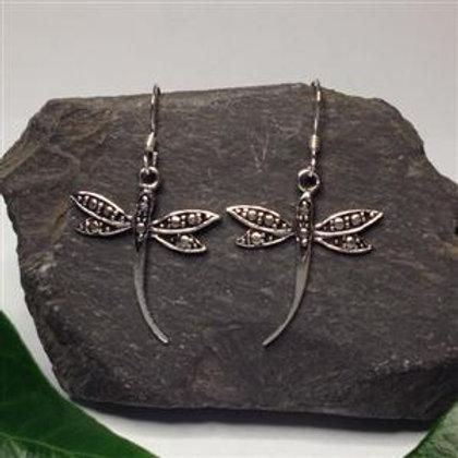 Dragonfly Drop Earrings - 925 Sterling Silver