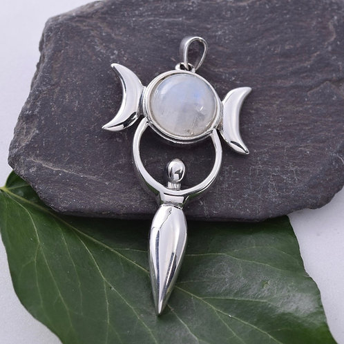 Goddess Pendant with Moonstone Pendant - 925 Sterling Silver