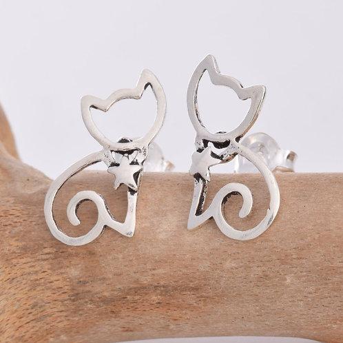 Kitten Stud Earrings - 925 Sterling Silver
