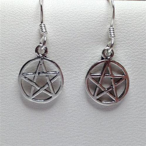 Small Pentagram Drop Earrings - 925 Sterling Silver