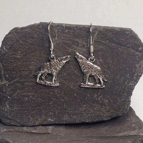 Howling Wolf Drop Earrings - 925 Sterling Silver