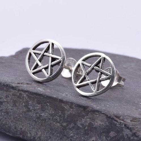 Pentagram 10mm Disc Stud Earrings - 925 Sterling Silver