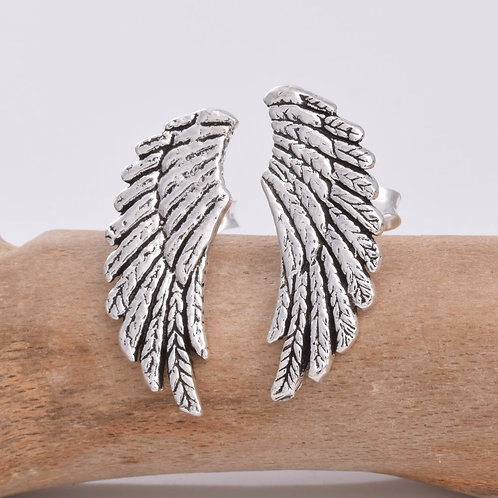 Large Angel Wings Stud Earrings - 925 Sterling Silver