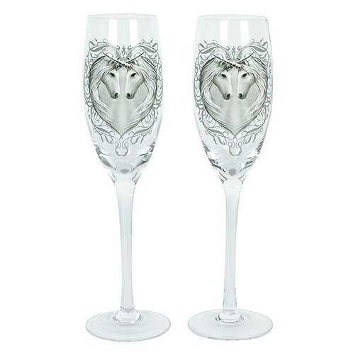 Pair of Unicorn Champagne Glasses by Anne Stokes