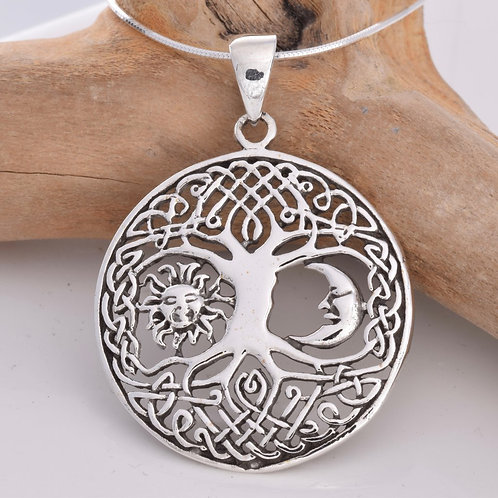 Tree of Life Pendant with Sun and Moon  - 925 Sterling Silver