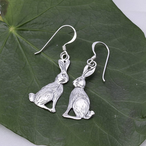 Moon Gazing Hare Drop Earrings - 925 Sterling Silver