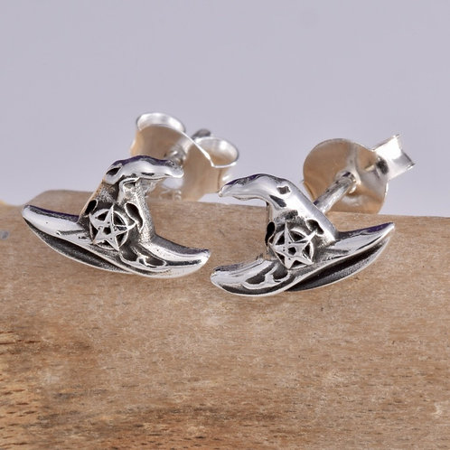 Witches Hat Stud Earrings - 925 Sterling Silver