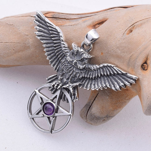 Owl's Flight Pendant with Amethyst  - 925 Sterling Silver