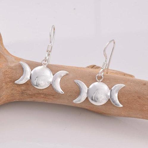 Triple Moon Drop Earrings - 925 Sterling Silver
