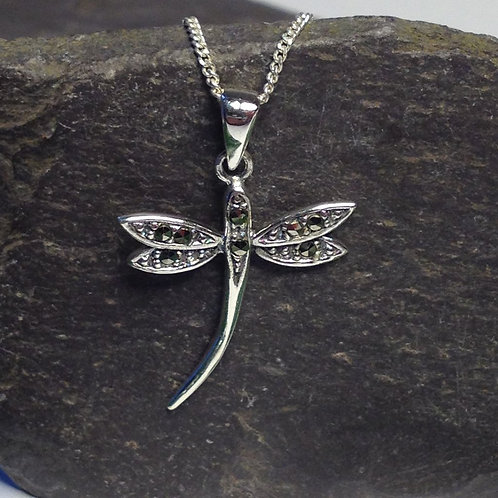 Dragonfly Pendant with Marcasite Stones - 925 Sterling Silver