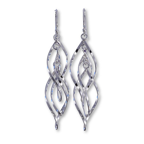 Double Twist Wire Drop Earrings - 925 Sterling Silver