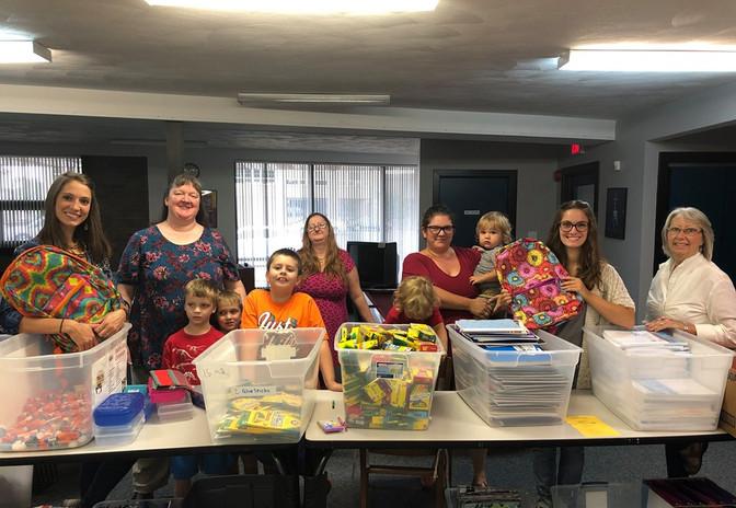 MOMS Club of Battle Creek Helps Stuff Back Packs