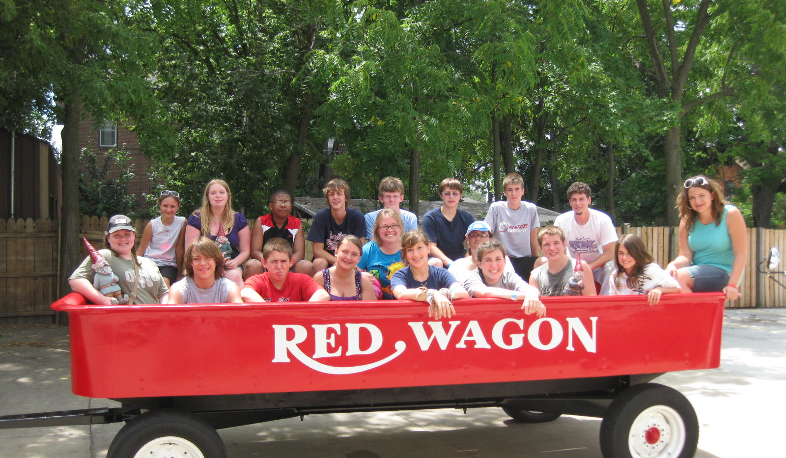 Red Wagon With College Church Youth
