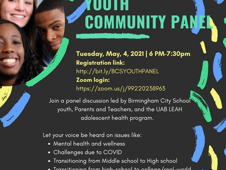 A panel discussion led by BCS youth, parents, teachers, and the UAB LEAH adolescent