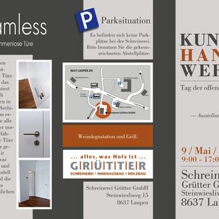Ausstellungs Flyer 3-teilig vorne