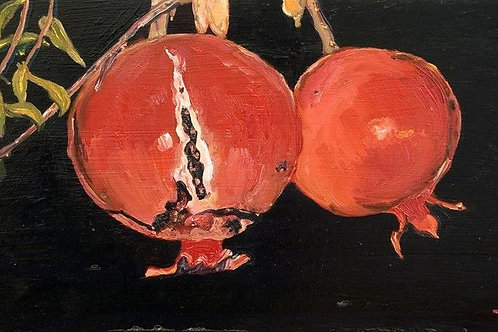Painting Decoration - A Pair of Pomegrenades at Night