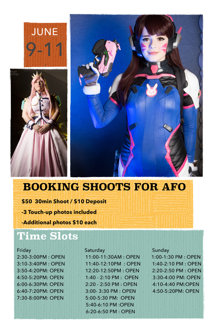 Booking shoots for AFO!