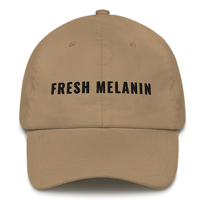 Fresh Melanin Dad Hat Black Text