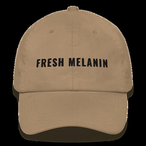 Fresh Melanin Dad Hat Black Text