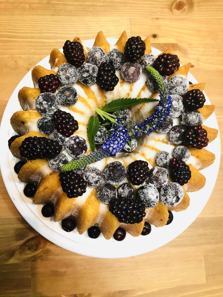 Lemon and Mixed Berry Bundt Cake