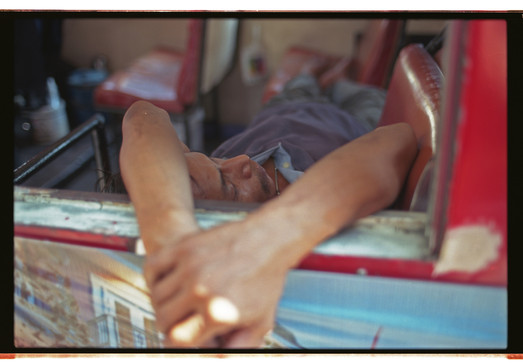 Analog_Tobias Ulbrich_En Route_Thailand_Bangkok_Driver Sleeping in Bus