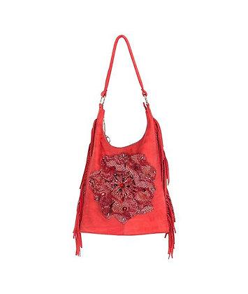 Cartera de cuero Flower Red