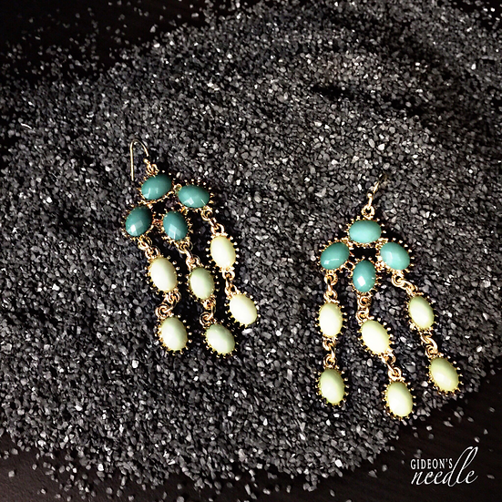 Mini Green Turtle Drop Earrings