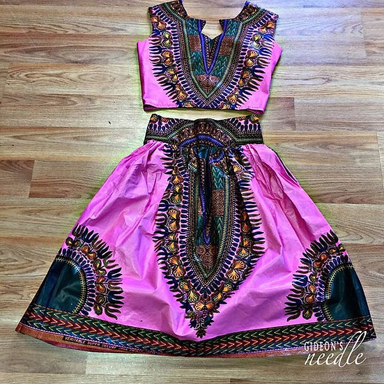 Amenia Dashiki Top Blouse & Skirt