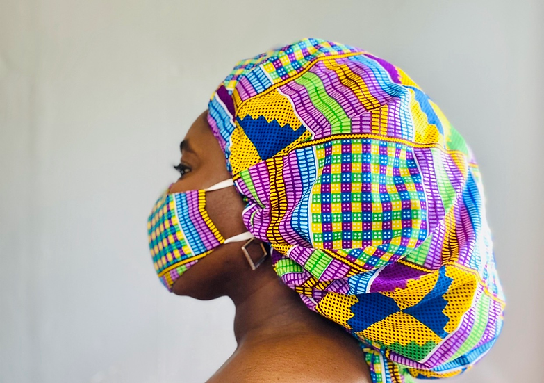 Beredum Kente Bespoke Bonnet + Face Mask