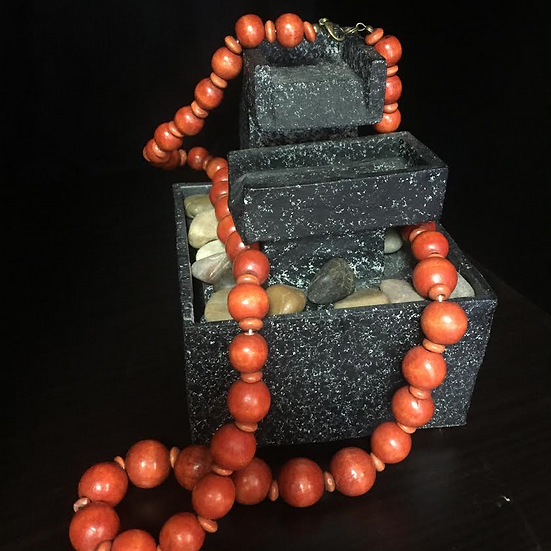 Beaded Orange Necklace