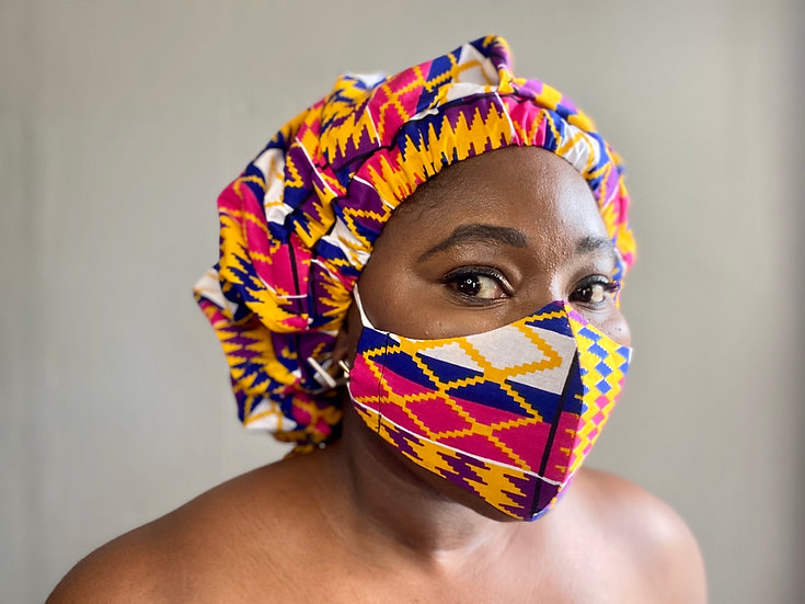 Memen Kente Bespoke Bonnet + Face Mask