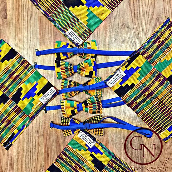 Blue Sea Kente Bowtie & Pocket Square