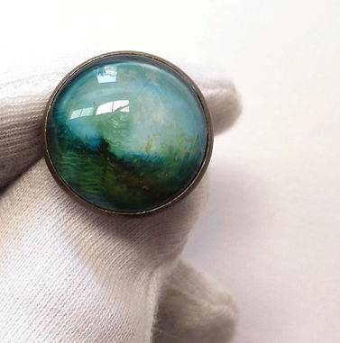 """Hand painted lapel pin """"Imagined Landscape"""""""
