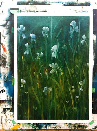 """My first painting since my Parkinson's diagnosis. """"Nocturne-Irises 1"""" Completed"""