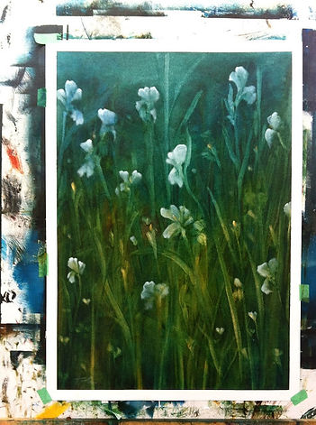 "My first painting since my Parkinson's diagnosis. ""Nocturne-Irises 1"" Completed"