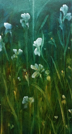 """My first painting since my Parkinson's diagnosis. """"Nocturne-Irises 1"""" Detail"""