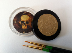 """47mm """"Skull"""" dial oil, gold and bronze leaf."""