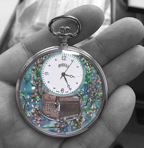 """Hand painted """"Sping"""" dial for BOEGLI Watches"""