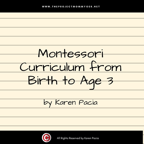 Montessori Curriculum from Birth to 3 years old
