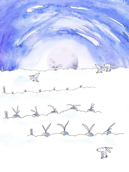 Hares in the Winter Moonlight