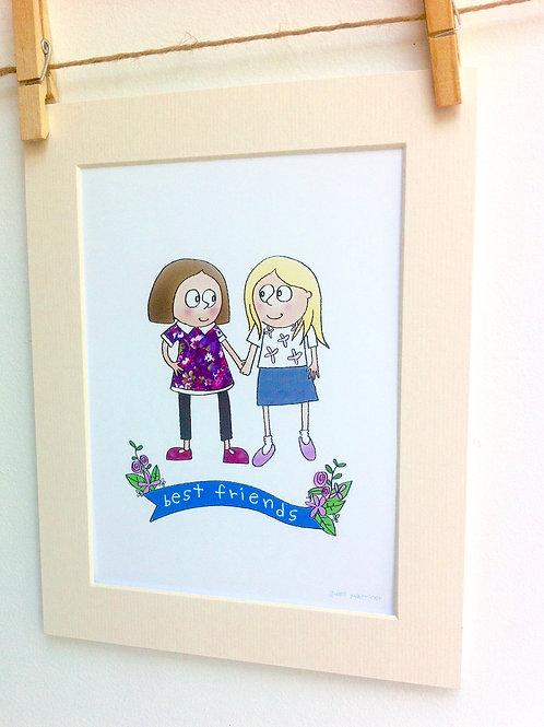 Best Friends custom names print