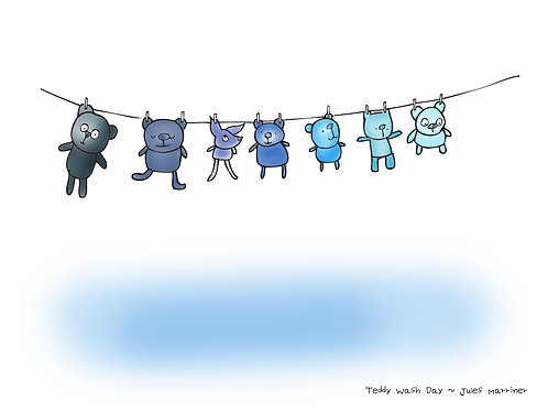 Teddy Wash Day New Baby Print