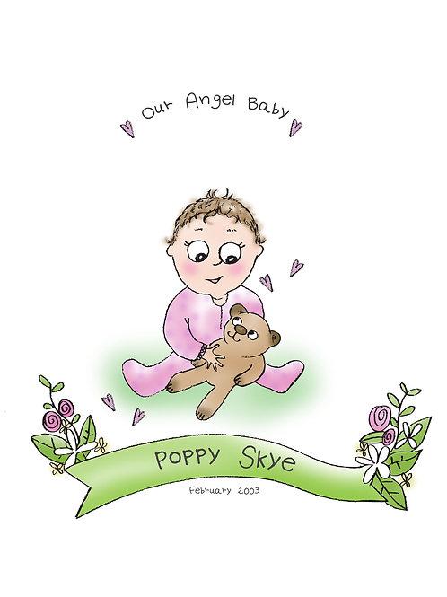Special Angel Baby portrait memoriam - in memory of babies and children.